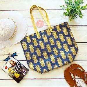 Handbags - Blue & Gold Pineapple Print Beach Tote Bag